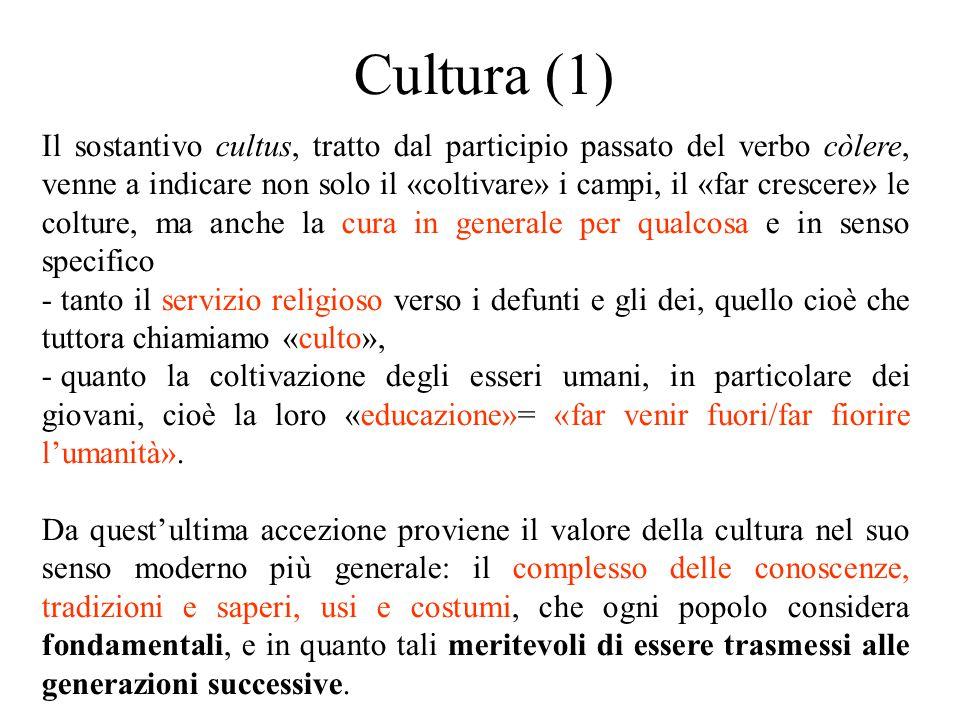 Cultura (1) Il sostantivo cultus, tratto dal participio passato del verbo còlere, venne a indicare non solo il «coltivare» i campi, il «far crescere»