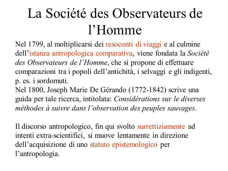 La Société des Observateurs de l'Homme Nel 1799, al moltiplicarsi dei resoconti di viaggi e al culmine dell'istanza antropologica comparativa, viene f