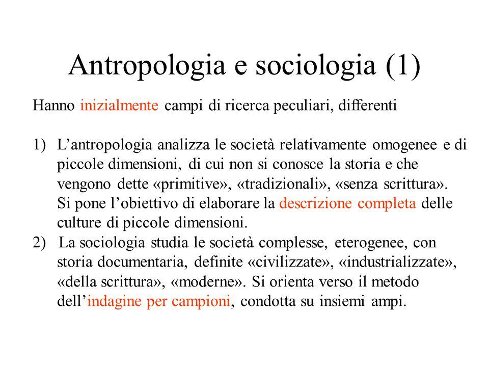 Antropologia e sociologia (1) Hanno inizialmente campi di ricerca peculiari, differenti 1)L'antropologia analizza le società relativamente omogenee e di piccole dimensioni, di cui non si conosce la storia e che vengono dette «primitive», «tradizionali», «senza scrittura».