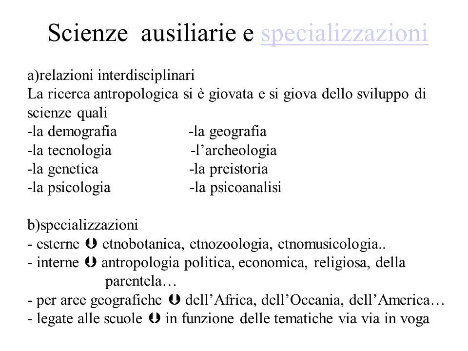 Scienze ausiliarie e specializzazionispecializzazioni a)relazioni interdisciplinari La ricerca antropologica si è giovata e si giova dello sviluppo di