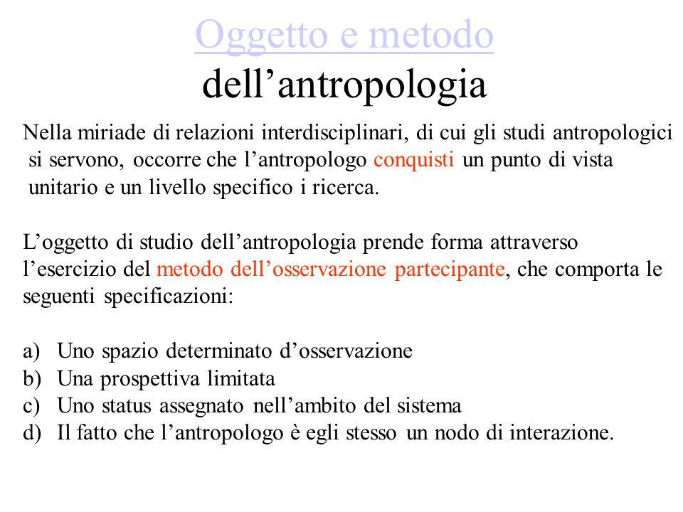 Oggetto e metodo Oggetto e metodo dell'antropologia Nella miriade di relazioni interdisciplinari, di cui gli studi antropologici si servono, occorre che l'antropologo conquisti un punto di vista unitario e un livello specifico i ricerca.
