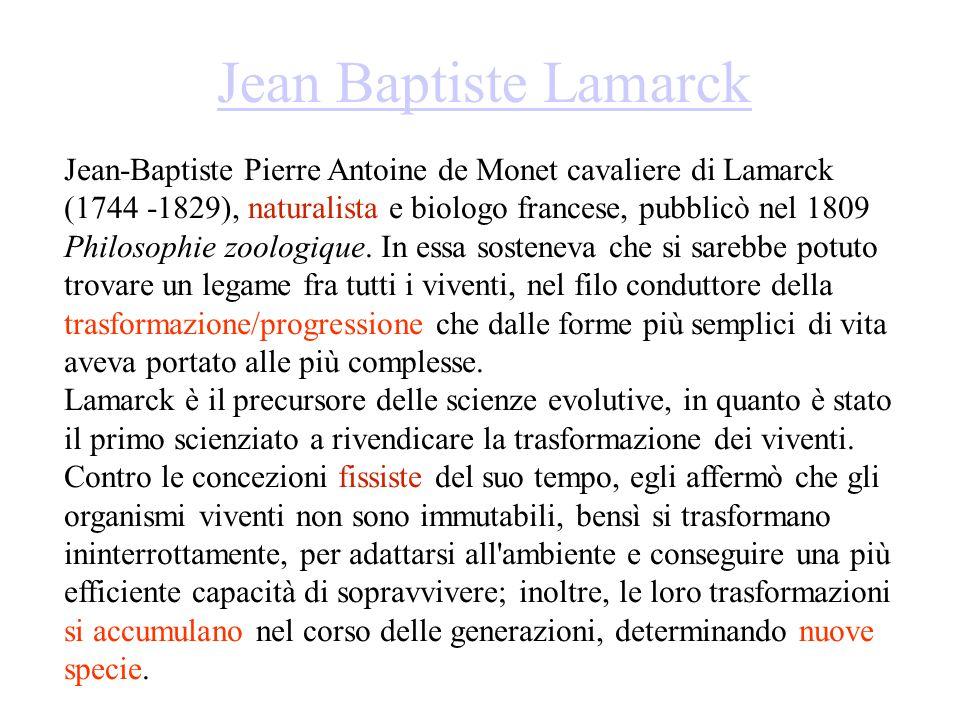 Jean Baptiste Lamarck Jean-Baptiste Pierre Antoine de Monet cavaliere di Lamarck (1744 -1829), naturalista e biologo francese, pubblicò nel 1809 Philosophie zoologique.