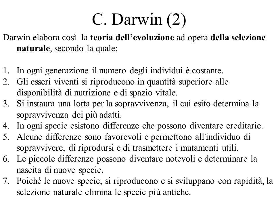 C. Darwin (2) Darwin elabora così la teoria dell'evoluzione ad opera della selezione naturale, secondo la quale: 1.In ogni generazione il numero degli