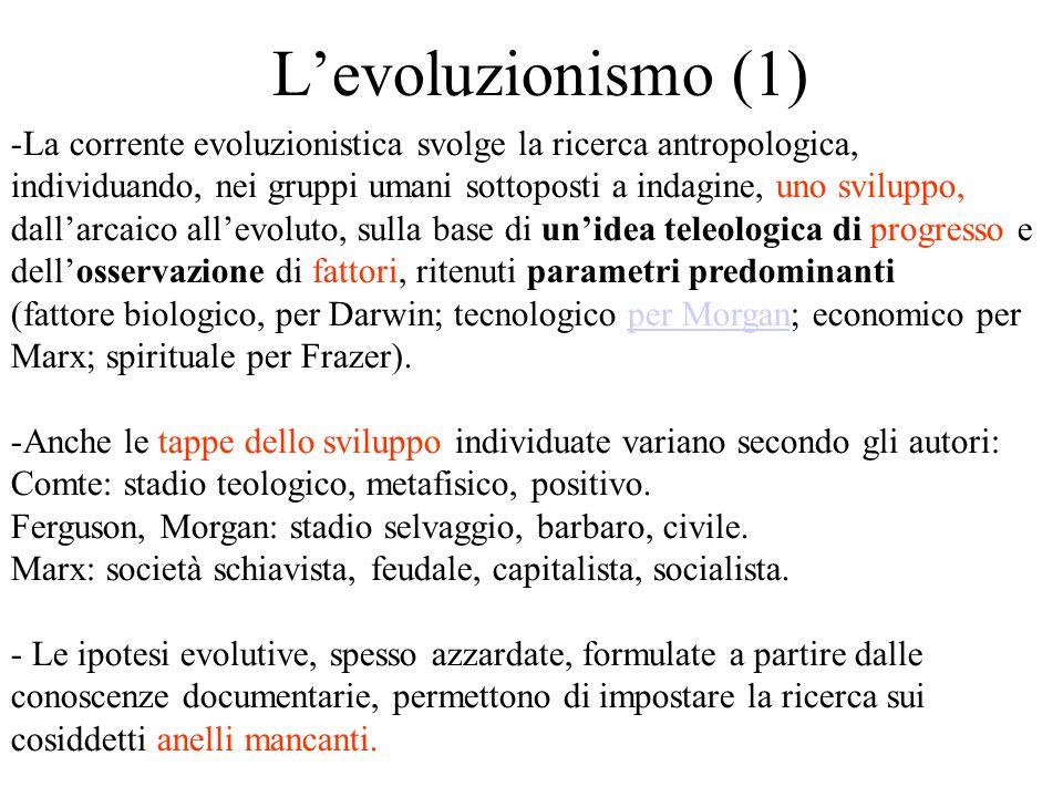 L'evoluzionismo (1) -La corrente evoluzionistica svolge la ricerca antropologica, individuando, nei gruppi umani sottoposti a indagine, uno sviluppo, dall'arcaico all'evoluto, sulla base di un'idea teleologica di progresso e dell'osservazione di fattori, ritenuti parametri predominanti (fattore biologico, per Darwin; tecnologico per Morgan; economico per Marx; spirituale per Frazer).per Morgan -Anche le tappe dello sviluppo individuate variano secondo gli autori: Comte: stadio teologico, metafisico, positivo.
