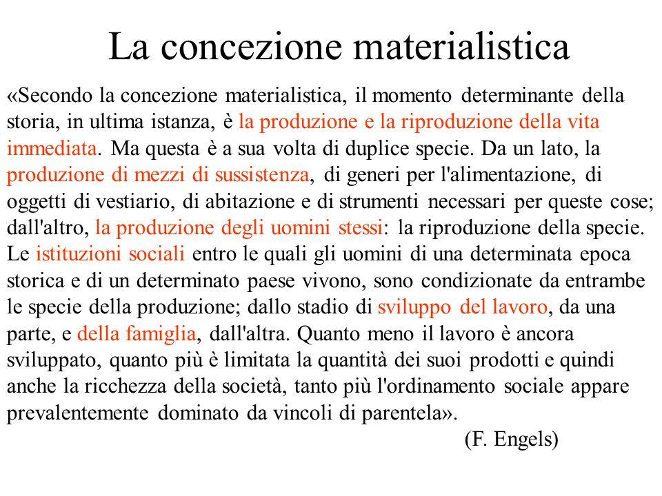 La concezione materialistica «Secondo la concezione materialistica, il momento determinante della storia, in ultima istanza, è la produzione e la ripr