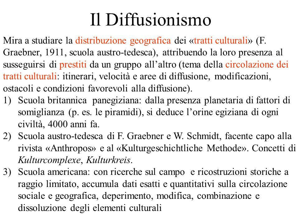 Il Diffusionismo Mira a studiare la distribuzione geografica dei «tratti culturali» (F. Graebner, 1911, scuola austro-tedesca), attribuendo la loro pr