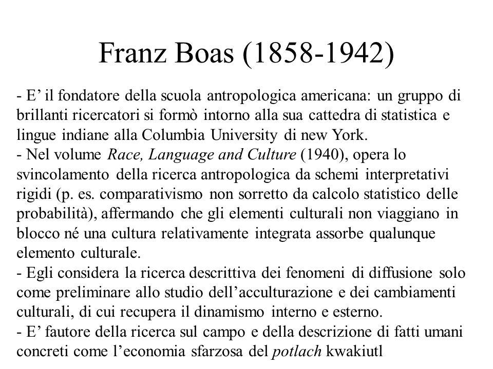 Franz Boas (1858-1942) - E' il fondatore della scuola antropologica americana: un gruppo di brillanti ricercatori si formò intorno alla sua cattedra di statistica e lingue indiane alla Columbia University di new York.