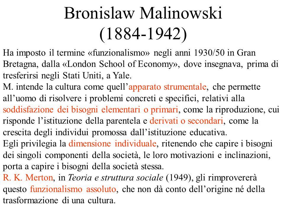 Bronislaw Malinowski (1884-1942) Ha imposto il termine «funzionalismo» negli anni 1930/50 in Gran Bretagna, dalla «London School of Economy», dove insegnava, prima di tresferirsi negli Stati Uniti, a Yale.