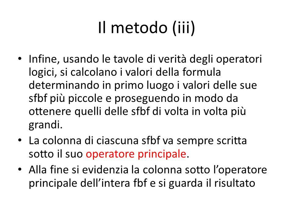 Il metodo (iii) Infine, usando le tavole di verità degli operatori logici, si calcolano i valori della formula determinando in primo luogo i valori de