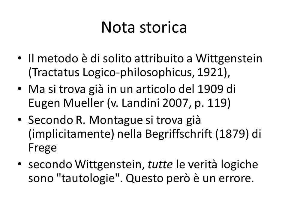 Nota storica Il metodo è di solito attribuito a Wittgenstein (Tractatus Logico-philosophicus, 1921), Ma si trova già in un articolo del 1909 di Eugen