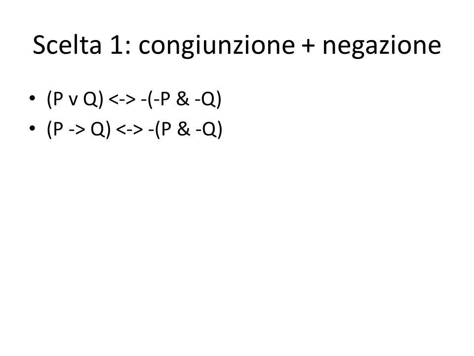 Scelta 1: congiunzione + negazione (P v Q) -(-P & -Q) (P -> Q) -(P & -Q)