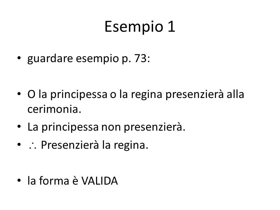Esempio 1 guardare esempio p. 73: O la principessa o la regina presenzierà alla cerimonia. La principessa non presenzierà.  Presenzierà la regina. la