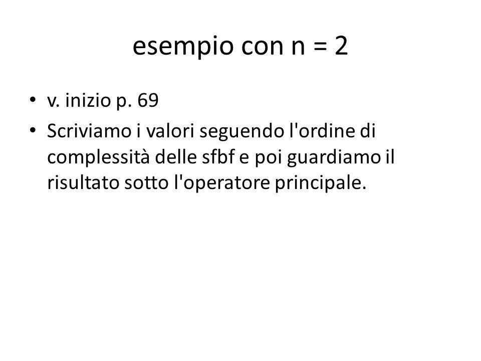esempio con n = 2 v. inizio p. 69 Scriviamo i valori seguendo l'ordine di complessità delle sfbf e poi guardiamo il risultato sotto l'operatore princi