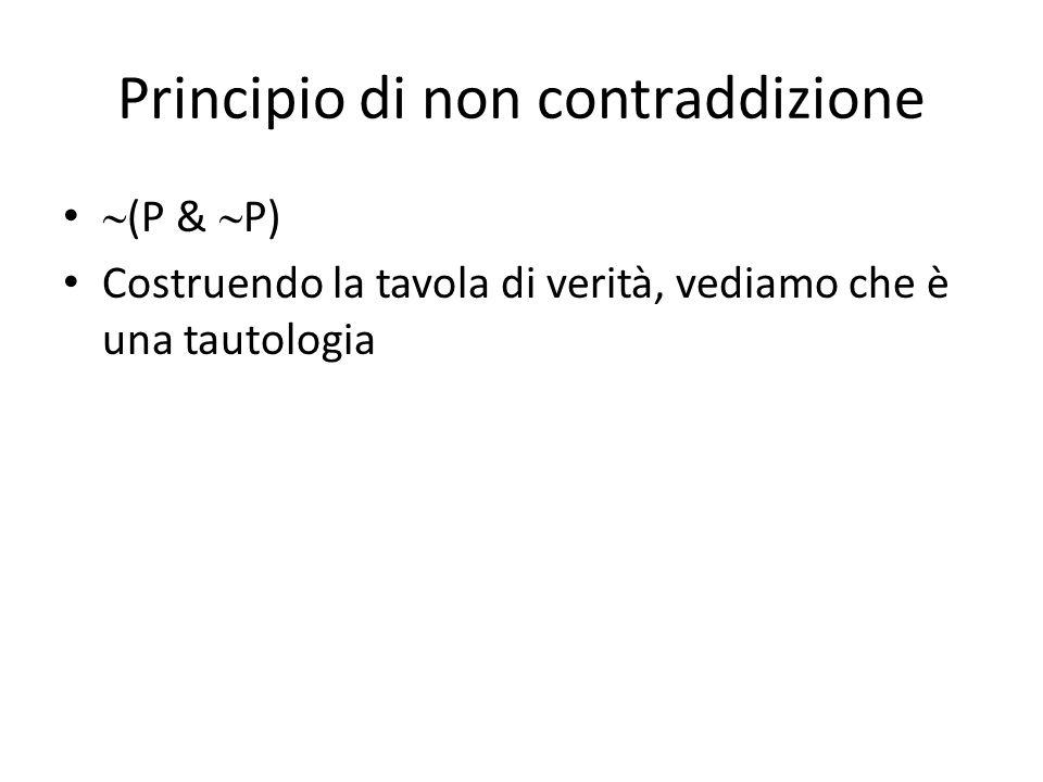 Principio di non contraddizione  (P &  P) Costruendo la tavola di verità, vediamo che è una tautologia