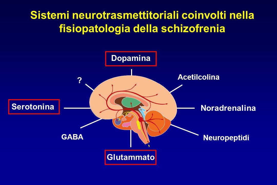 Glutammato Neuropeptidi Noradrenalina Acetilcolina Dopamina Serotonina GABA ? Sistemi neurotrasmettitoriali coinvolti nella fisiopatologia della schiz