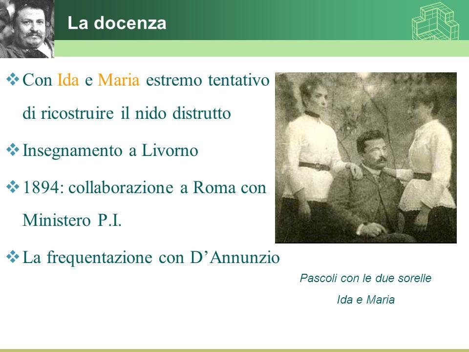 La docenza  Con Ida e Maria estremo tentativo di ricostruire il nido distrutto  Insegnamento a Livorno  1894: collaborazione a Roma con Ministero P