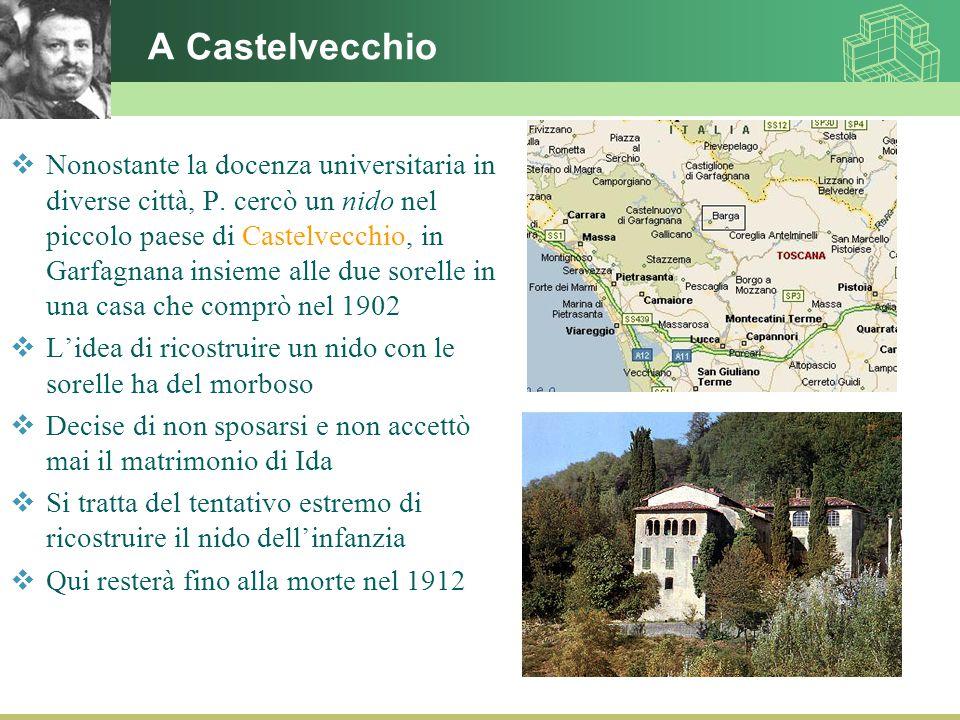 A Castelvecchio  Nonostante la docenza universitaria in diverse città, P. cercò un nido nel piccolo paese di Castelvecchio, in Garfagnana insieme all