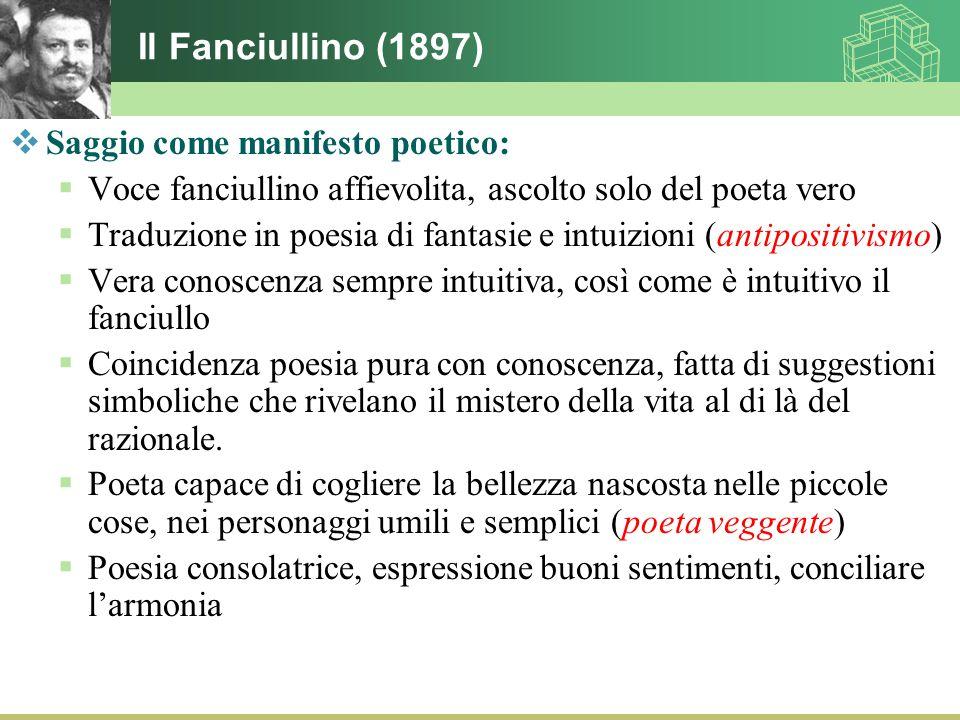 Il Fanciullino (1897)  Saggio come manifesto poetico:  Voce fanciullino affievolita, ascolto solo del poeta vero  Traduzione in poesia di fantasie