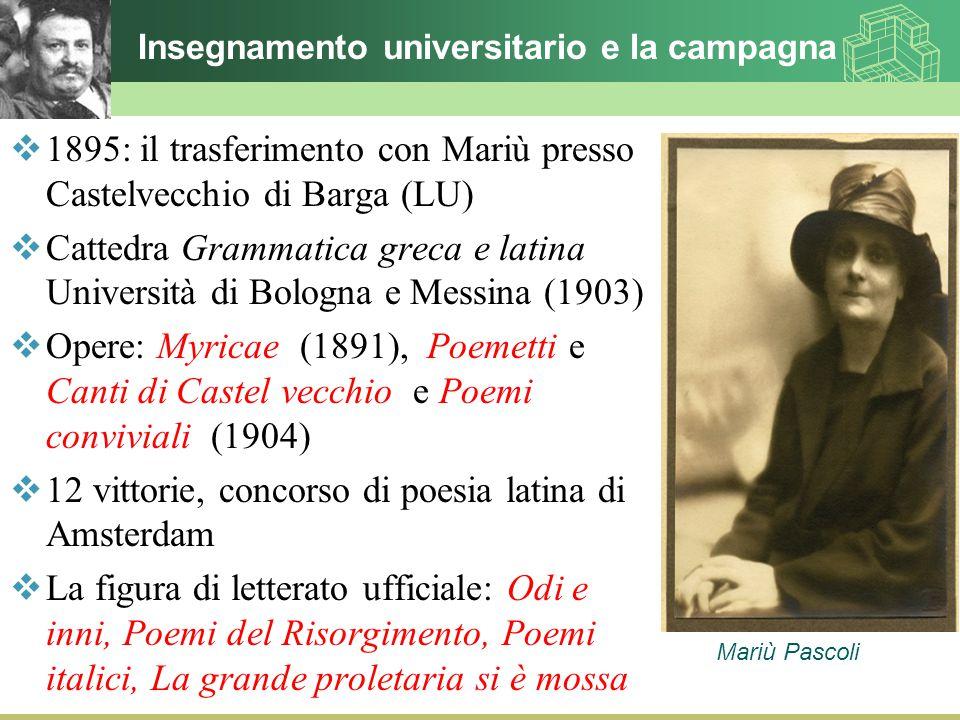Insegnamento universitario e la campagna  1895: il trasferimento con Mariù presso Castelvecchio di Barga (LU)  Cattedra Grammatica greca e latina Un