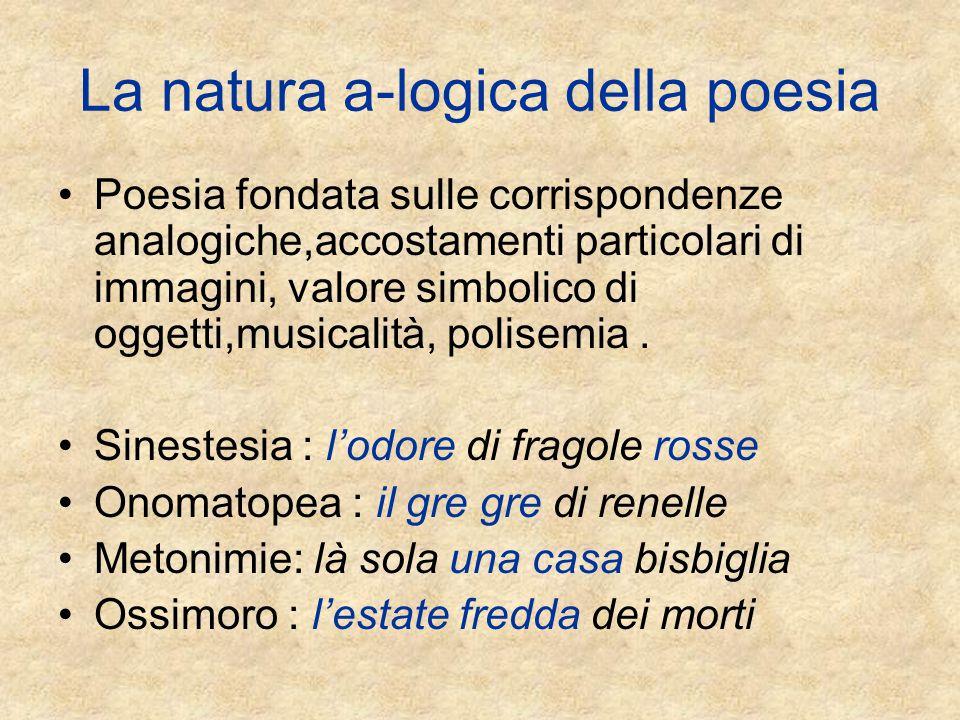 La natura a-logica della poesia Poesia fondata sulle corrispondenze analogiche,accostamenti particolari di immagini, valore simbolico di oggetti,musicalità, polisemia.