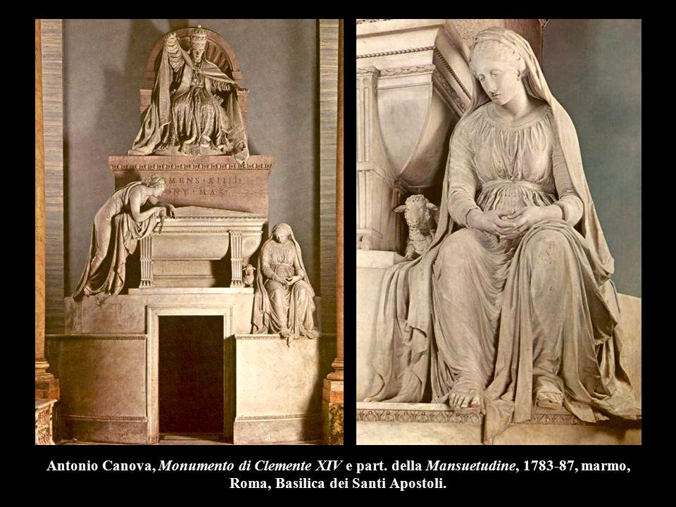 Antonio Canova, Monumento di Clemente XIV e part. della Mansuetudine, 1783-87, marmo, Roma, Basilica dei Santi Apostoli.