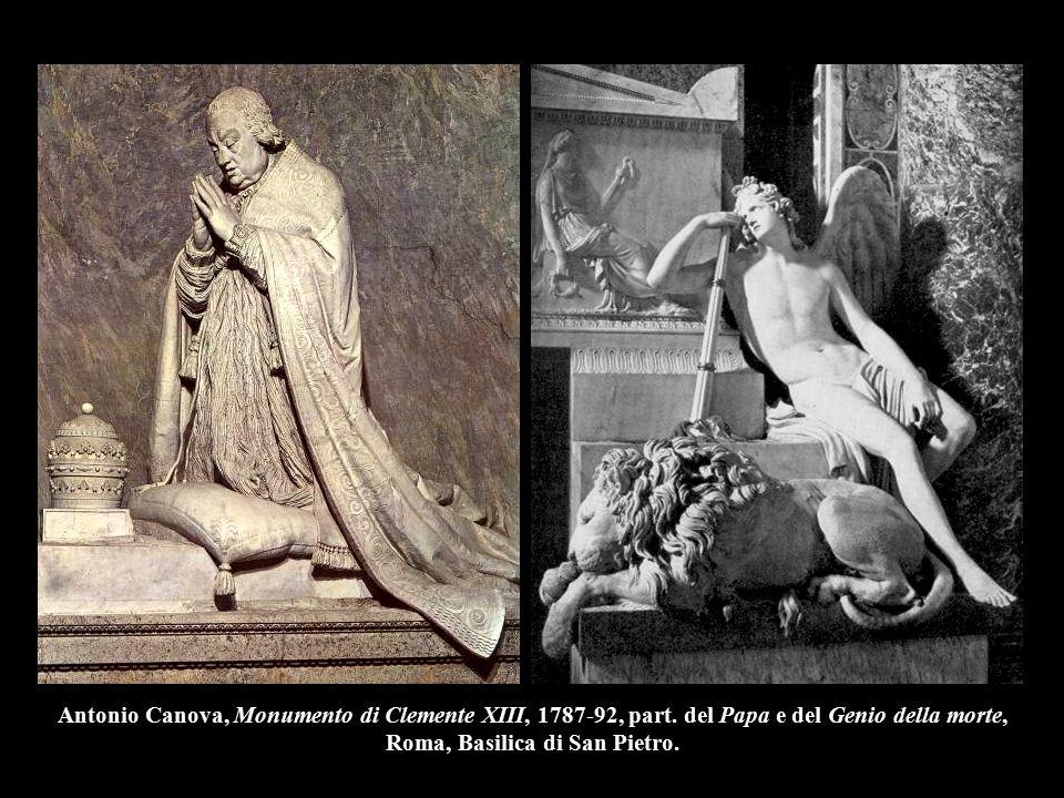 Antonio Canova, Monumento di Clemente XIII, 1787-92, part. del Papa e del Genio della morte, Roma, Basilica di San Pietro.