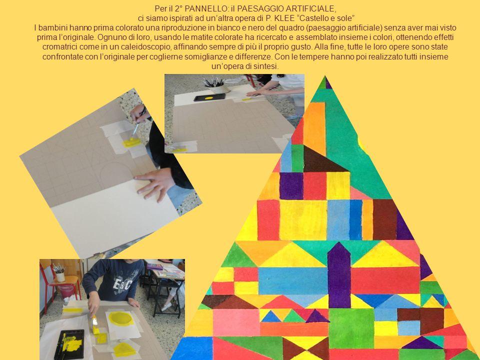 """Per il 2° PANNELLO: il PAESAGGIO ARTIFICIALE, ci siamo ispirati ad un'altra opera di P. KLEE """"Castello e sole"""" I bambini hanno prima colorato una ripr"""