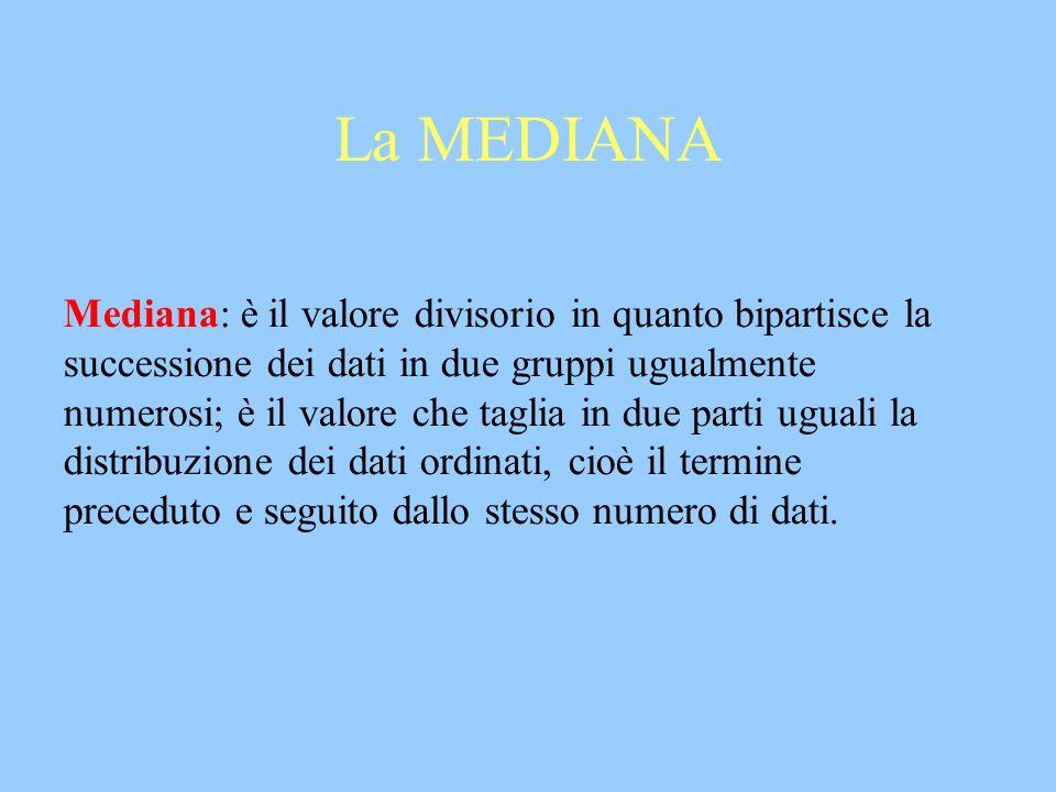 La MEDIANA Mediana: è il valore divisorio in quanto bipartisce la successione dei dati in due gruppi ugualmente numerosi; è il valore che taglia in du
