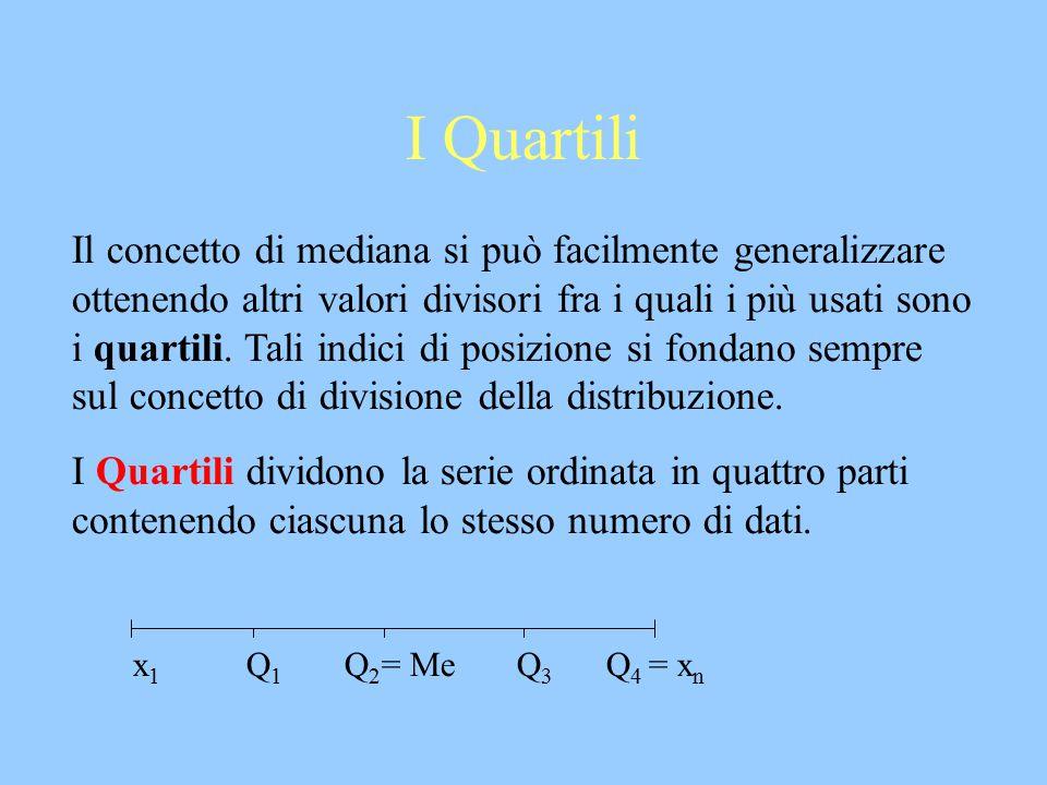 I Quartili Il concetto di mediana si può facilmente generalizzare ottenendo altri valori divisori fra i quali i più usati sono i quartili. Tali indici