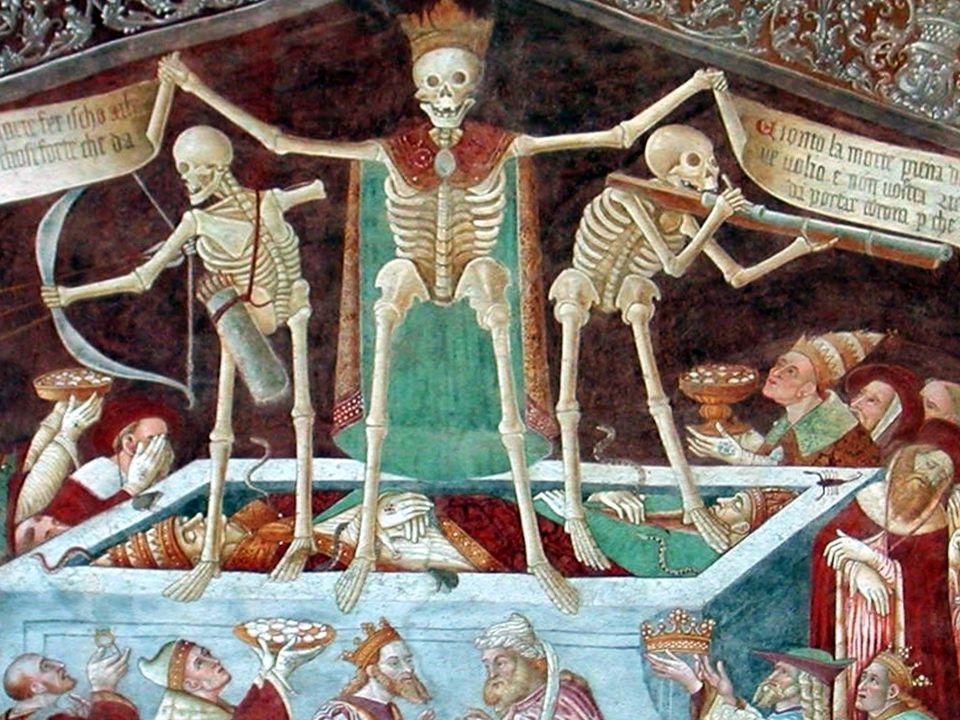 Clusone (BG) - Danza Macabra sulla facciata della Chiesa dei Disciplini (1485) Gionto la morte piena de equaeza: sole voij ve vollo e non vostra riche