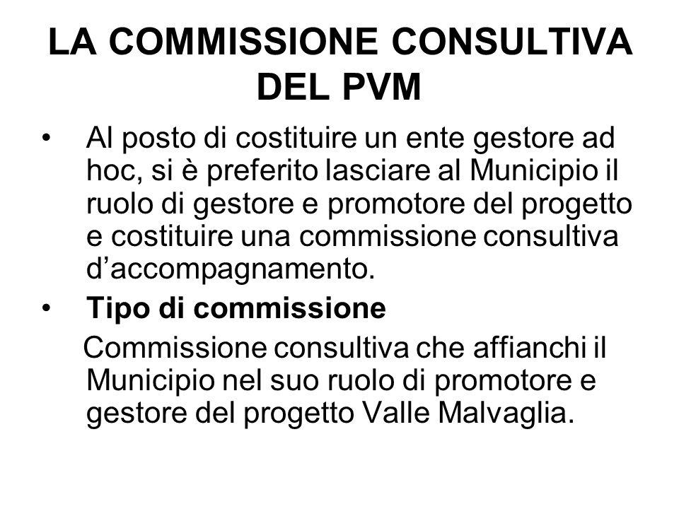 LA COMMISSIONE CONSULTIVA DEL PVM Al posto di costituire un ente gestore ad hoc, si è preferito lasciare al Municipio il ruolo di gestore e promotore del progetto e costituire una commissione consultiva d'accompagnamento.