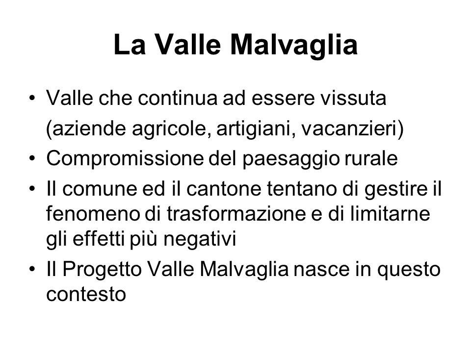 La Valle Malvaglia Valle che continua ad essere vissuta (aziende agricole, artigiani, vacanzieri) Compromissione del paesaggio rurale Il comune ed il cantone tentano di gestire il fenomeno di trasformazione e di limitarne gli effetti più negativi Il Progetto Valle Malvaglia nasce in questo contesto