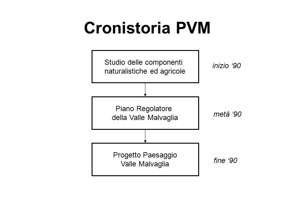 Cronistoria PVM Studio delle componenti naturalistiche ed agricole Piano Regolatore della Valle Malvaglia Progetto Paesaggio Valle Malvaglia inizio '90 metà '90 fine '90
