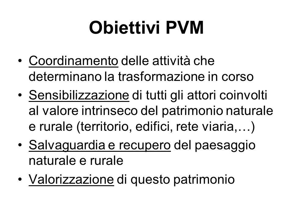 Obiettivi PVM Coordinamento delle attività che determinano la trasformazione in corso Sensibilizzazione di tutti gli attori coinvolti al valore intrin
