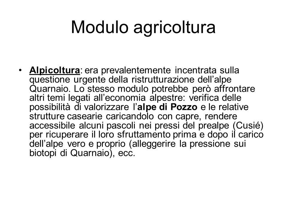 Modulo agricoltura Alpicoltura: era prevalentemente incentrata sulla questione urgente della ristrutturazione dell'alpe Quarnaio. Lo stesso modulo pot