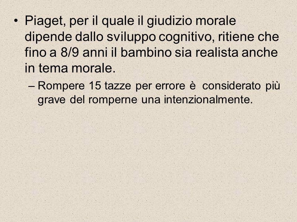 Piaget, per il quale il giudizio morale dipende dallo sviluppo cognitivo, ritiene che fino a 8/9 anni il bambino sia realista anche in tema morale. –R