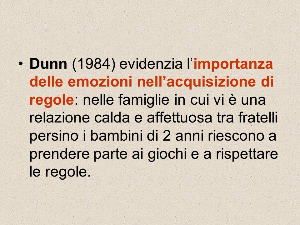Dunn (1984) evidenzia l'importanza delle emozioni nell'acquisizione di regole: nelle famiglie in cui vi è una relazione calda e affettuosa tra fratell