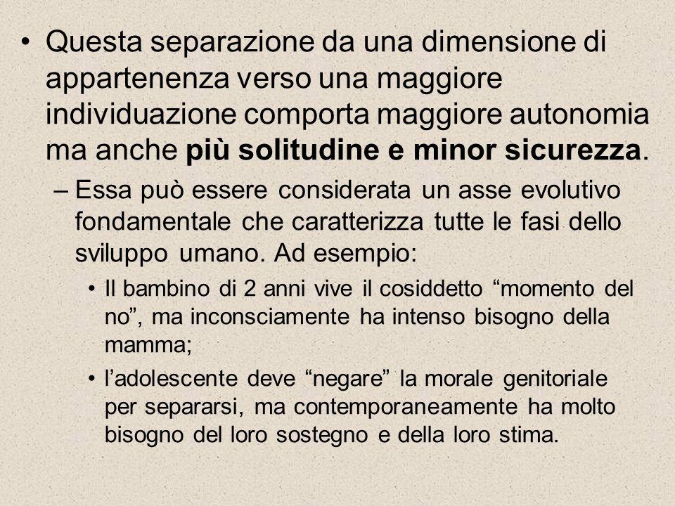 Questa separazione da una dimensione di appartenenza verso una maggiore individuazione comporta maggiore autonomia ma anche più solitudine e minor sic