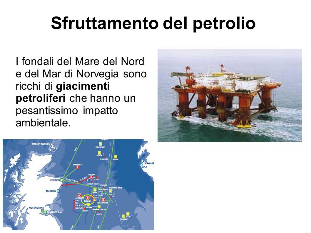 Sfruttamento del petrolio I fondali del Mare del Nord e del Mar di Norvegia sono ricchi di giacimenti petroliferi che hanno un pesantissimo impatto am