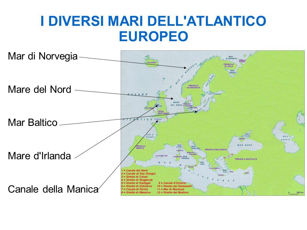 Le coste atlantiche sono molto variegate Falesie: coste alte e rocciose (sul canale della Manica sia in Francia che Inghilterra) Coste basse e sabbiose Fiordi: Mar di Norvegia