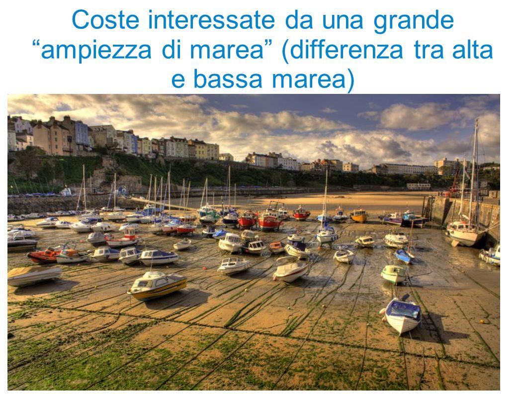 """Coste interessate da una grande """"ampiezza di marea"""" (differenza tra alta e bassa marea)"""