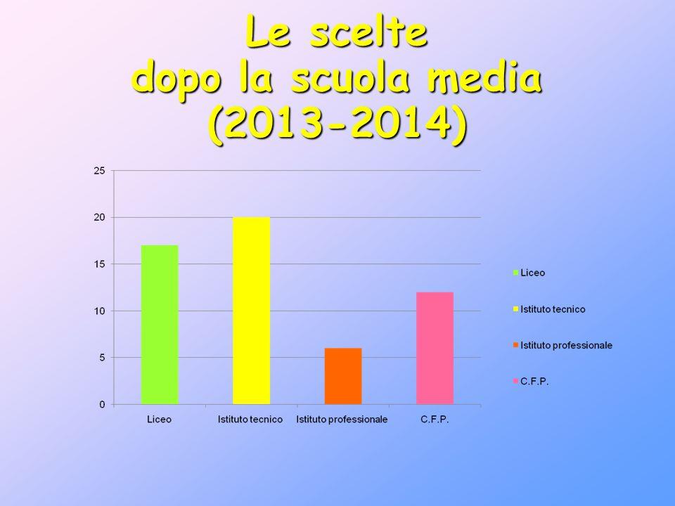Le scelte dopo la scuola media (2013-2014)