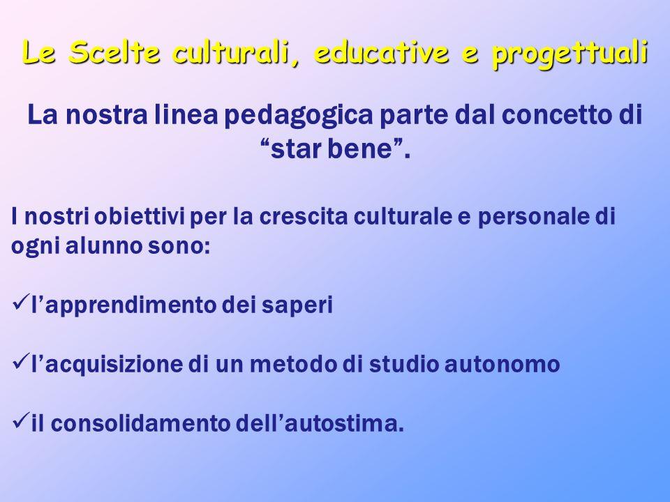 """Le Scelte culturali, educative e progettuali La nostra linea pedagogica parte dal concetto di """"star bene"""". I nostri obiettivi per la crescita cultural"""