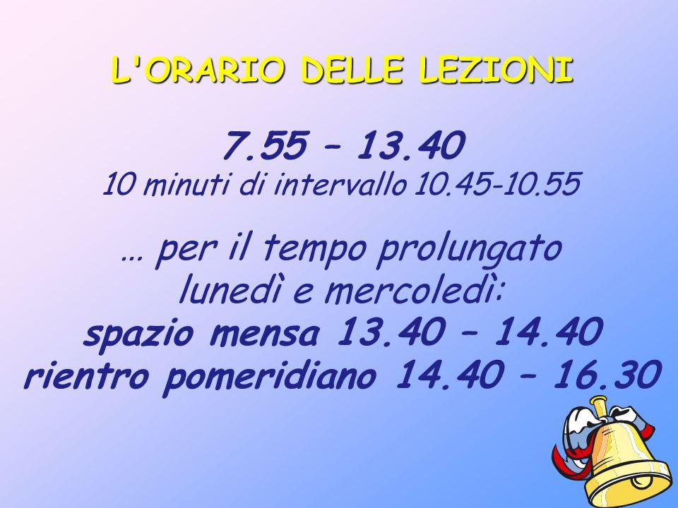 L'ORARIO DELLE LEZIONI 7.55 – 13.40 10 minuti di intervallo 10.45-10.55 … per il tempo prolungato lunedì e mercoledì: spazio mensa 13.40 – 14.40 rient