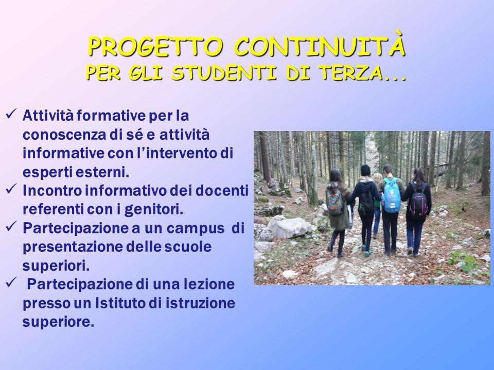 PROGETTO CONTINUITÀ PER GLI STUDENTI DI TERZA... Attività formative per la conoscenza di sé e attività informative con l'intervento di esperti esterni