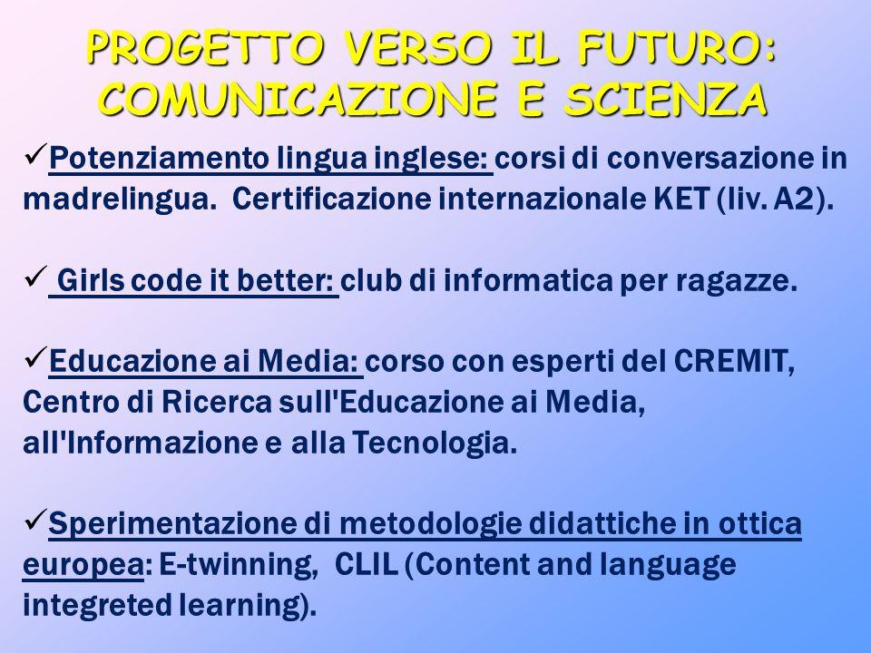 PROGETTO VERSO IL FUTURO: COMUNICAZIONE E SCIENZA Potenziamento lingua inglese: corsi di conversazione in madrelingua. Certificazione internazionale K