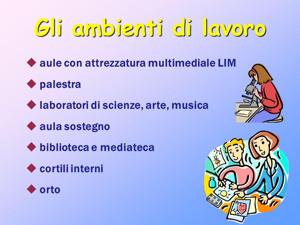 Gli ambienti di lavoro  aule con attrezzatura multimediale LIM  palestra  laboratori di scienze, arte, musica  aula sostegno  biblioteca e mediat