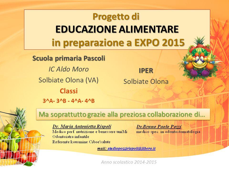 Progetto di EDUCAZIONE ALIMENTARE in preparazione a EXPO 2015 Scuola primaria Pascoli IC Aldo Moro Solbiate Olona (VA) Classi 3^A- 3^B - 4^A- 4^B IPER