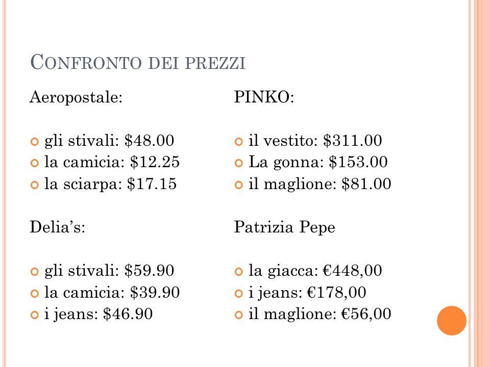 C ONFRONTO DEI PREZZI Aeropostale: gli stivali: $48.00 la camicia: $12.25 la sciarpa: $17.15 Delia's: gli stivali: $59.90 la camicia: $39.90 i jeans: $46.90 PINKO: il vestito: $311.00 La gonna: $153.00 il maglione: $81.00 Patrizia Pepe la giacca: €448,00 i jeans: €178,00 il maglione: €56,00