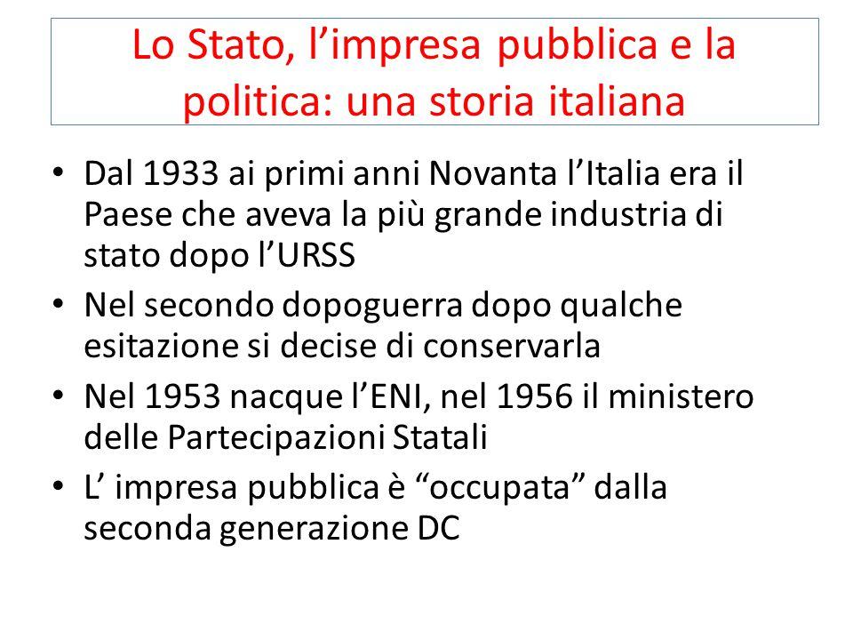 Lo Stato, l'impresa pubblica e la politica: una storia italiana Dal 1933 ai primi anni Novanta l'Italia era il Paese che aveva la più grande industria